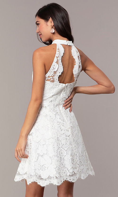 Image of white lace high-neck short graduation party dress. Style: DMO-J323857 Back Image