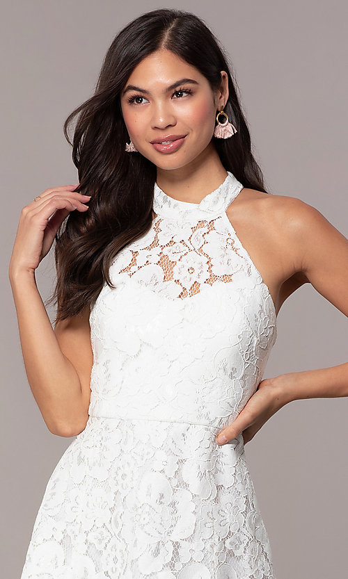 Image of white lace high-neck short graduation party dress. Style: DMO-J323857 Detail Image 1