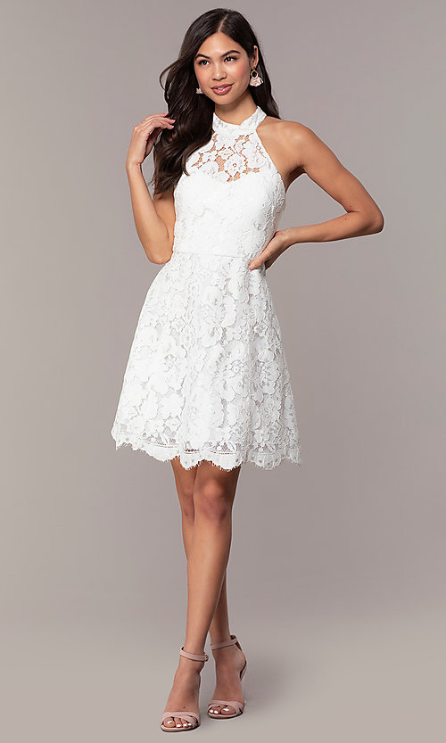 Image of white lace high-neck short graduation party dress. Style: DMO-J323857 Detail Image 3