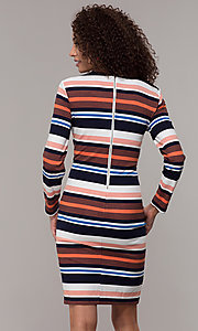Image of short striped long-sleeve wedding-guest dress. Style: ECI-720047-8354 Back Image