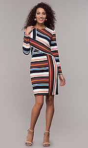 Image of short striped long-sleeve wedding-guest dress. Style: ECI-720047-8354 Detail Image 3