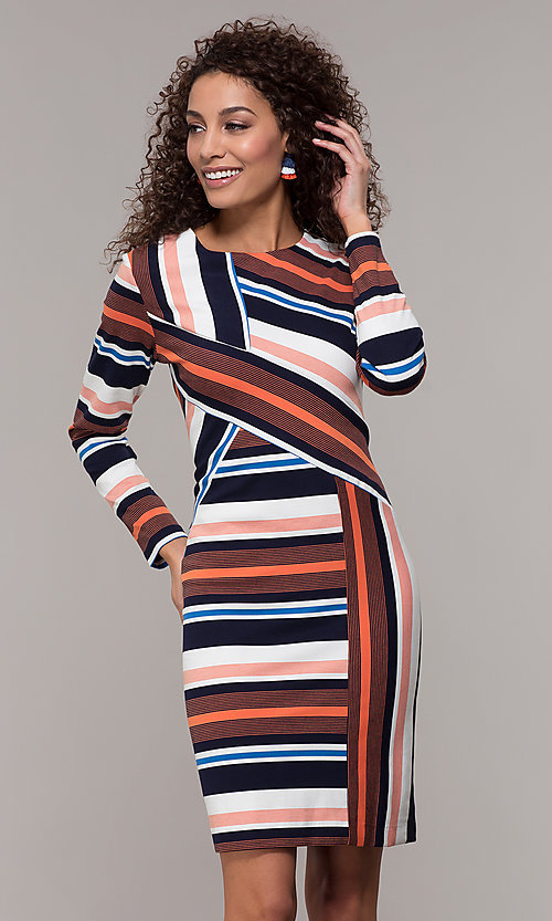 Image of short striped long-sleeve wedding-guest dress. Style: ECI-720047-8354 Front Image
