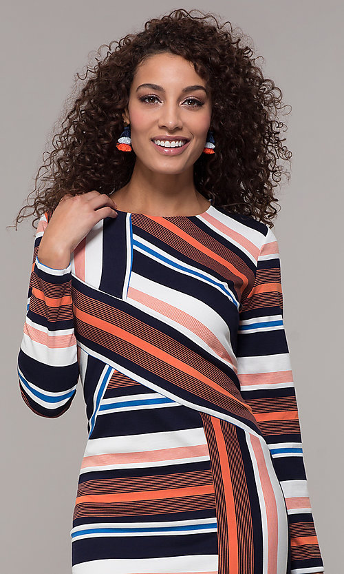 Image of short striped long-sleeve wedding-guest dress. Style: ECI-720047-8354 Detail Image 1