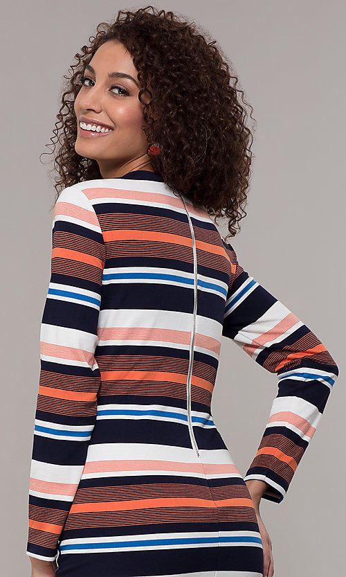Image of short striped long-sleeve wedding-guest dress. Style: ECI-720047-8354 Detail Image 2