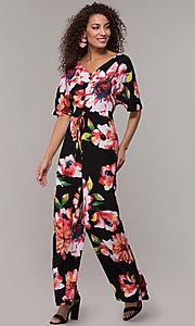 Image of floral-print v-neck jumpsuit for wedding guests. Style: ECI-720431-75510A Front Image