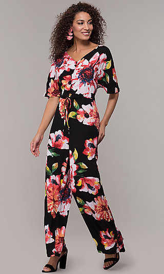Wedding Guest Floral Print V-Neck Jumpsuit