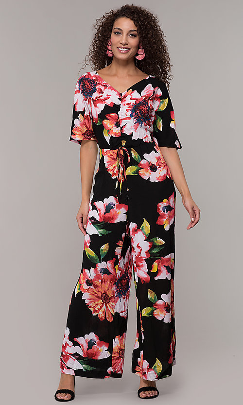 Image of floral-print v-neck jumpsuit for wedding guests. Style: ECI-720431-75510A Detail Image 3