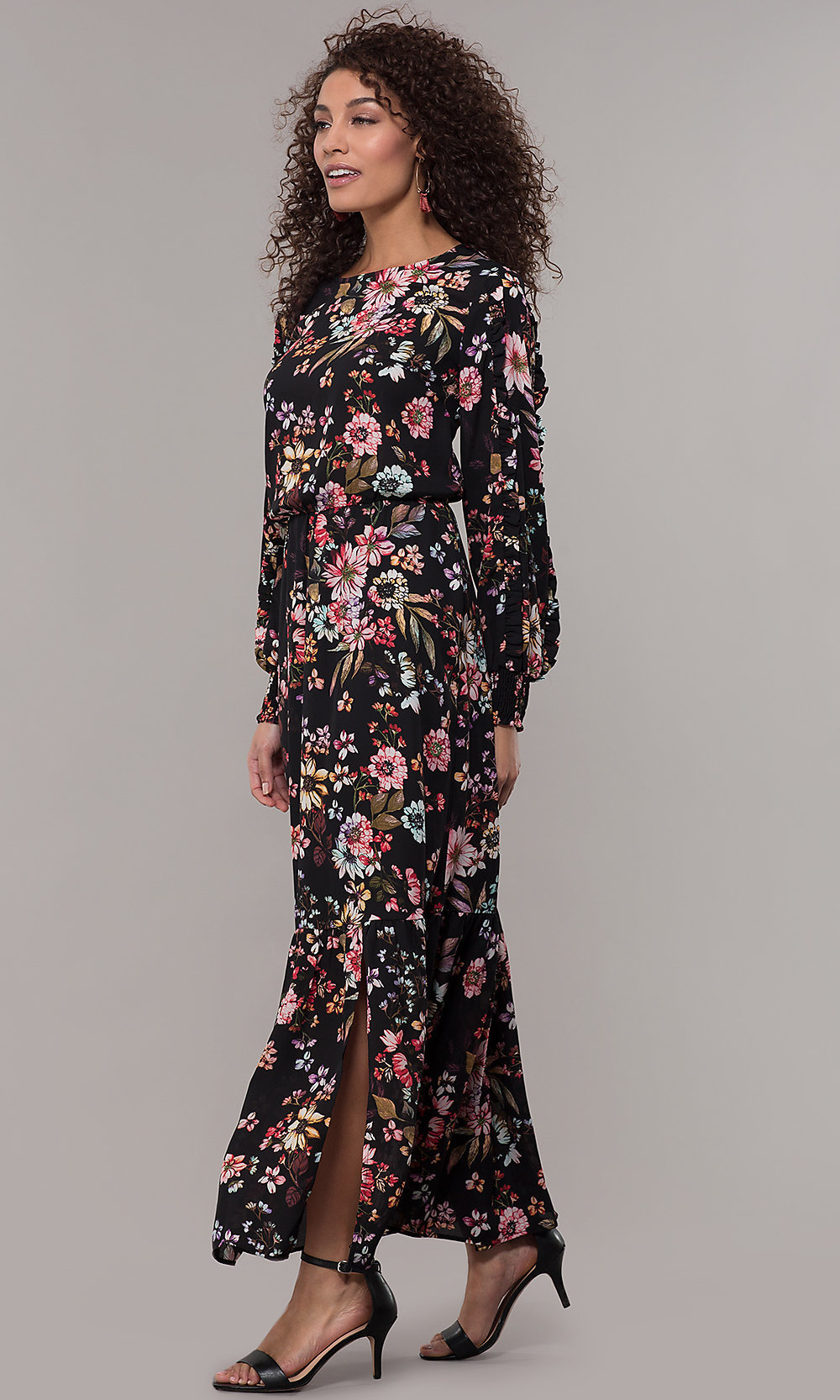 Long-Sleeve Floral-Print Maxi Wedding-Guest Dress