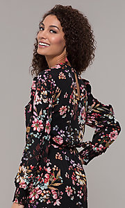 Image of floral-print long-sleeve wedding-guest maxi dress. Style: ECI-720394-75929A Detail Image 2