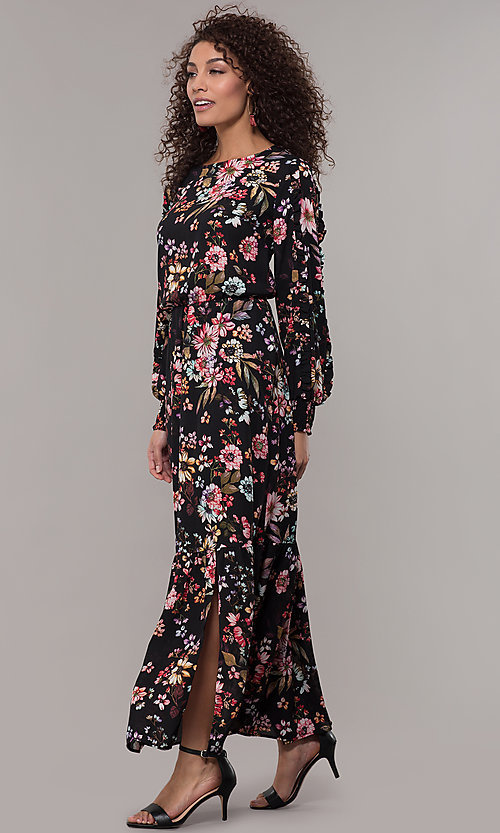 Floral,Print Long,Sleeve Wedding,Guest Maxi Dress