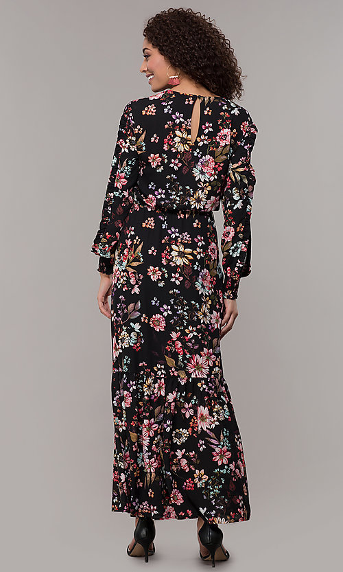 Image of floral-print long-sleeve wedding-guest maxi dress. Style: ECI-720394-75929A Back Image