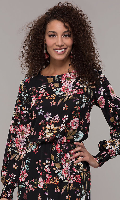 Image of floral-print long-sleeve wedding-guest maxi dress. Style: ECI-720394-75929A Detail Image 1