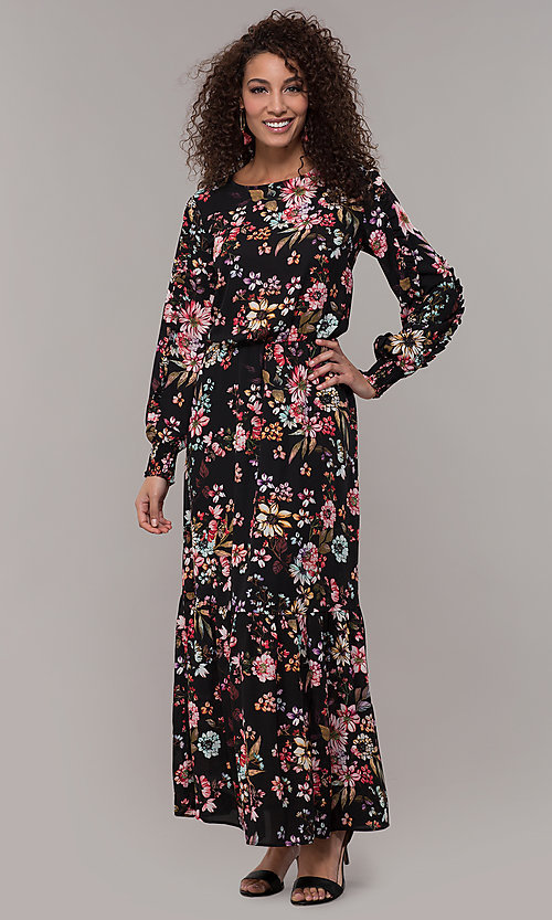 Image of floral-print long-sleeve wedding-guest maxi dress. Style: ECI-720394-75929A Detail Image 3