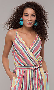 Image of casual v-neck striped jumpsuit. Style: ECI-720247-75864A Detail Image 1