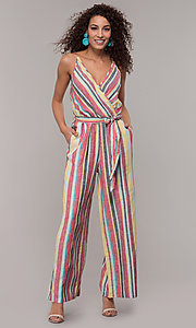 Image of casual v-neck striped jumpsuit. Style: ECI-720247-75864A Detail Image 3
