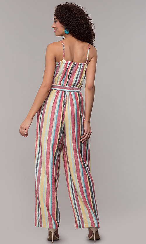 Image of casual v-neck striped jumpsuit. Style: ECI-720247-75864A Back Image