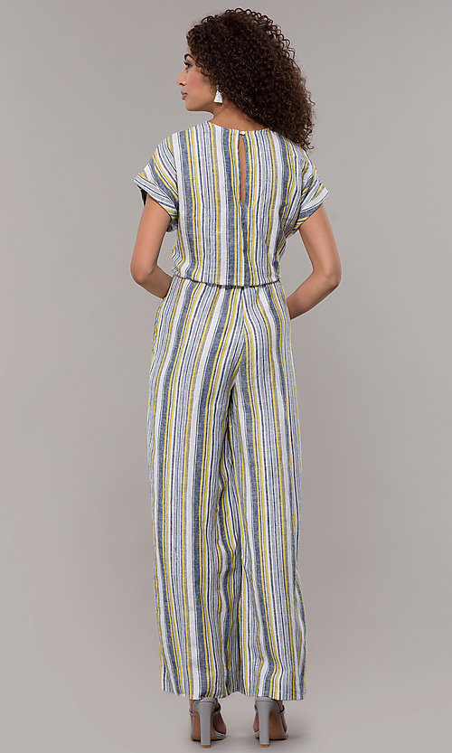 Image of striped short-sleeve long jumpsuit with pockets. Style: ECI-720476-8099A Back Image
