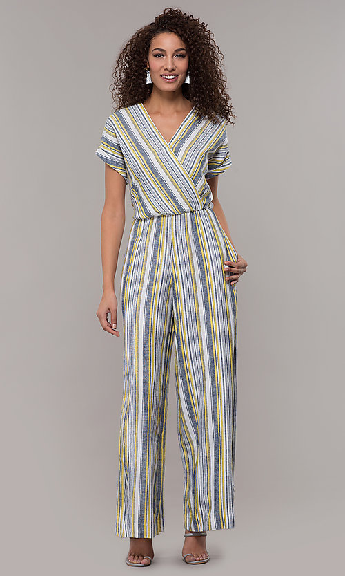 Image of striped short-sleeve long jumpsuit with pockets. Style: ECI-720476-8099A Detail Image 3