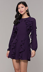 Image of short wedding-guest dress with sleeves. Style: FAN-EKD2076 Front Image