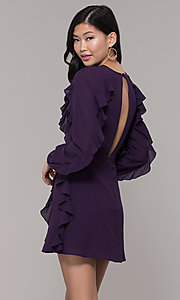 Image of short wedding-guest dress with sleeves. Style: FAN-EKD2076 Back Image