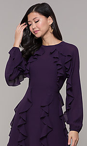Image of short wedding-guest dress with sleeves. Style: FAN-EKD2076 Detail Image 1