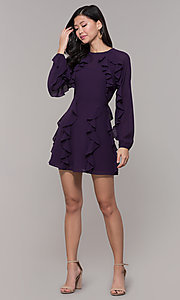 Image of short wedding-guest dress with sleeves. Style: FAN-EKD2076 Detail Image 3