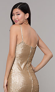 Image of gold-sequin short holiday party dress. Style: FAN-EKD2092 Detail Image 2