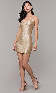 Image of gold-sequin short holiday party dress. Style: FAN-EKD2092 Detail Image 3