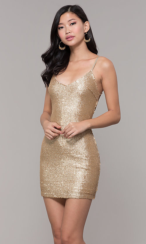 Image of gold-sequin short holiday party dress. Style: FAN-EKD2092 Front Image