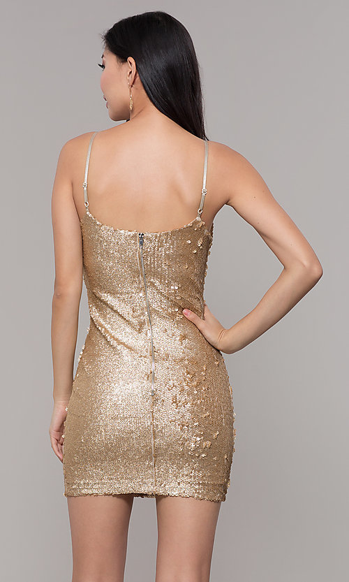 Image of gold-sequin short holiday party dress. Style: FAN-EKD2092 Back Image