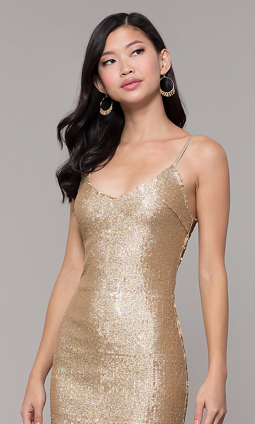 Image of gold-sequin short holiday party dress. Style: FAN-EKD2092 Detail Image 1