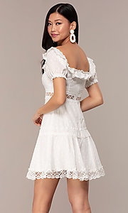 Image of off-the-shoulder short white cotton party dress. Style: FAN-EKD2116 Back Image