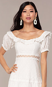 Image of off-the-shoulder short white cotton party dress. Style: FAN-EKD2116 Detail Image 1