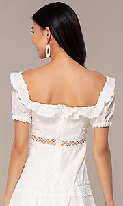 Image of off-the-shoulder short white cotton party dress. Style: FAN-EKD2116 Detail Image 2