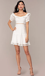 Image of off-the-shoulder short white cotton party dress. Style: FAN-EKD2116 Detail Image 3