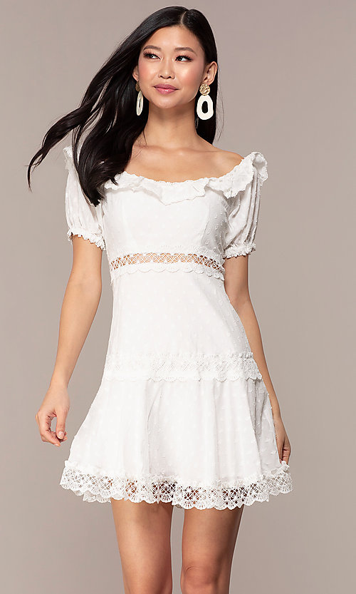 Image of off-the-shoulder short white cotton party dress. Style: FAN-EKD2116 Front Image