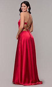 Image of open-back long red satin formal dress with corset. Style: BN-1160BN Front Image