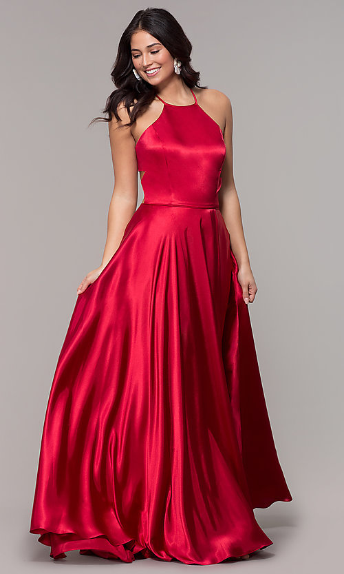 Image of open-back long red satin formal dress with corset. Style: BN-1160BN Back Image