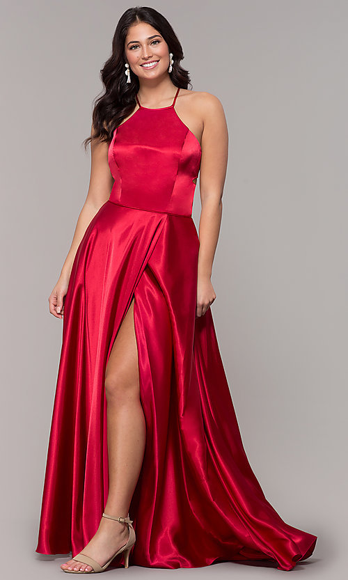 Image of open-back long red satin formal dress with corset. Style: BN-1160BN Detail Image 3