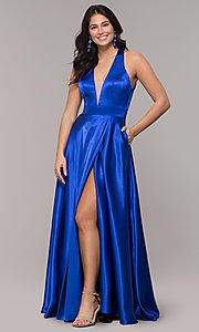 Image of satin long royal blue formal dress with pockets. Style: BN-1246BN Detail Image 3