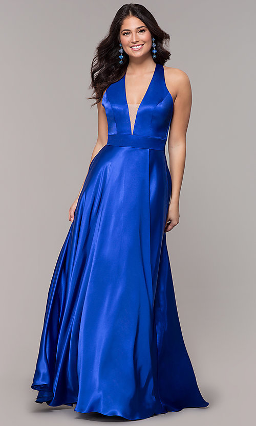 Image of satin long royal blue formal dress with pockets. Style: BN-1246BN Front Image
