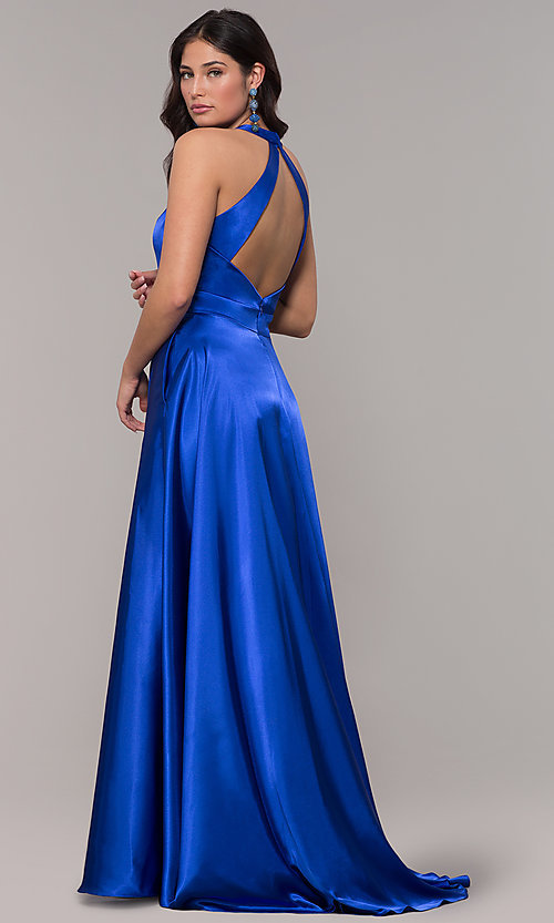 Image of satin long royal blue formal dress with pockets. Style: BN-1246BN Back Image