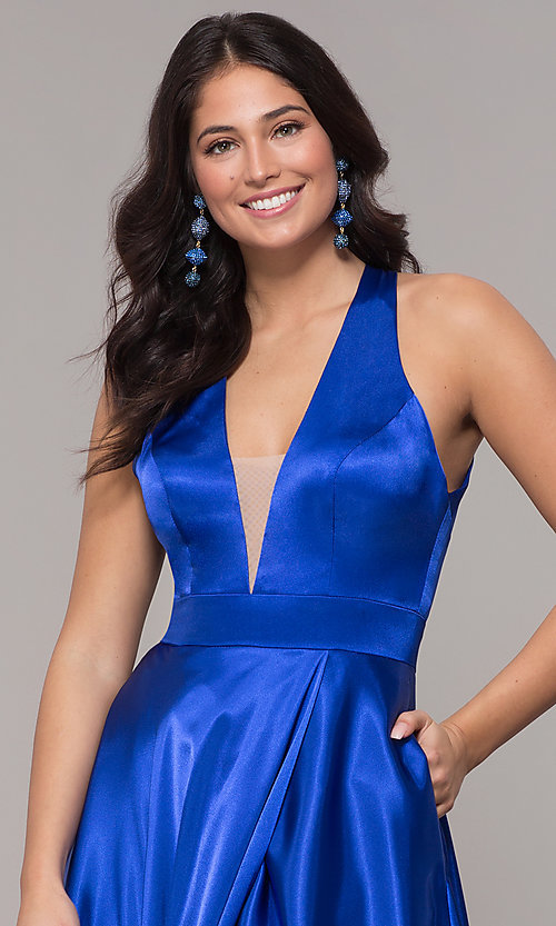 Image of satin long royal blue formal dress with pockets. Style: BN-1246BN Detail Image 1