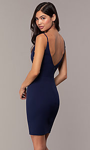 Image of short sheath v-neck cut-out wedding-guest dress. Style: JU-11192 Detail Image 3