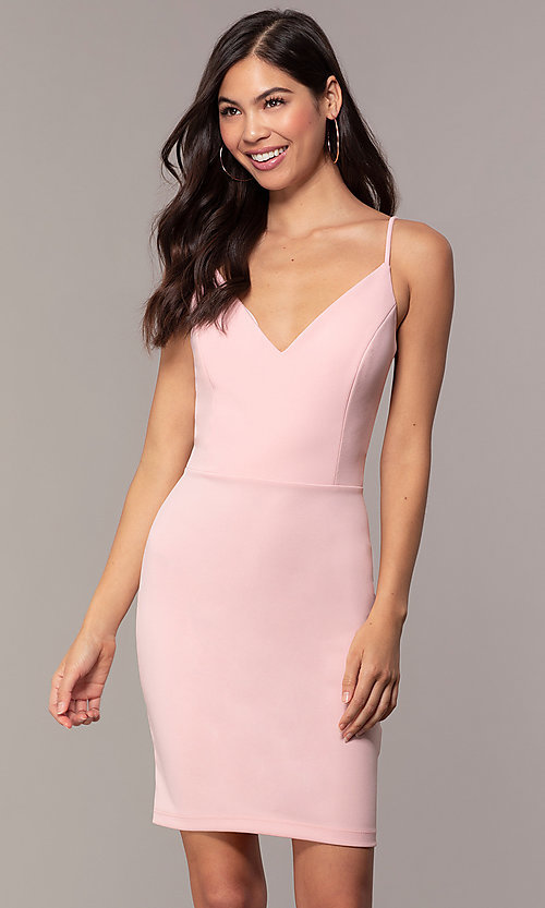 Image of short sheath v-neck cut-out wedding-guest dress. Style: JU-11192 Detail Image 6