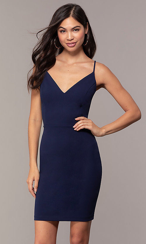 Image of short sheath v-neck cut-out wedding-guest dress. Style: JU-11192 Detail Image 2