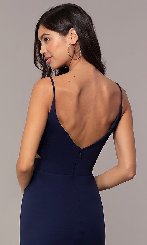 Image of short sheath v-neck cut-out wedding-guest dress. Style: JU-11192 Detail Image 5