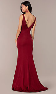 Image of long v-neck formal evening dress by Clarisse. Style: CLA-3153 Back Image