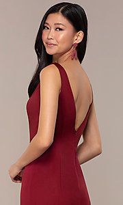 Image of long v-neck formal evening dress by Clarisse. Style: CLA-3153 Detail Image 2