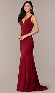 Image of long v-neck formal evening dress by Clarisse. Style: CLA-3153 Detail Image 3